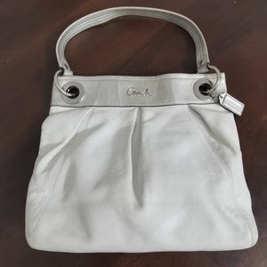 Authentic Coach White and Silver Genuine Leather